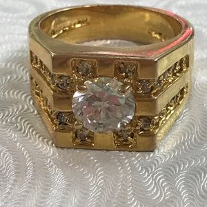 Jewelry - Chunky Cubic Zirconia Ring Bling Ring Hip Hop